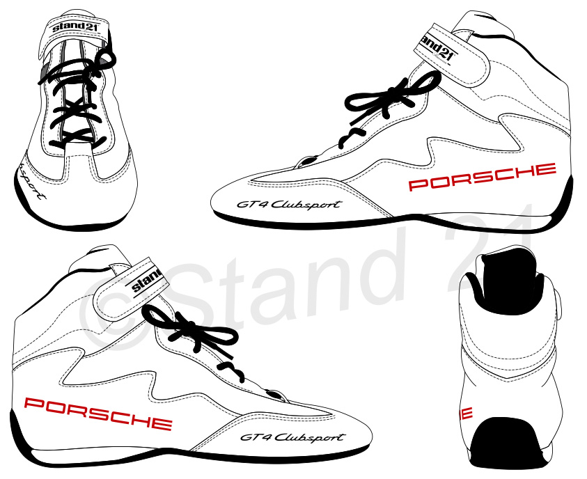 White Porsche GT4 Clubsport Daytona II shoes